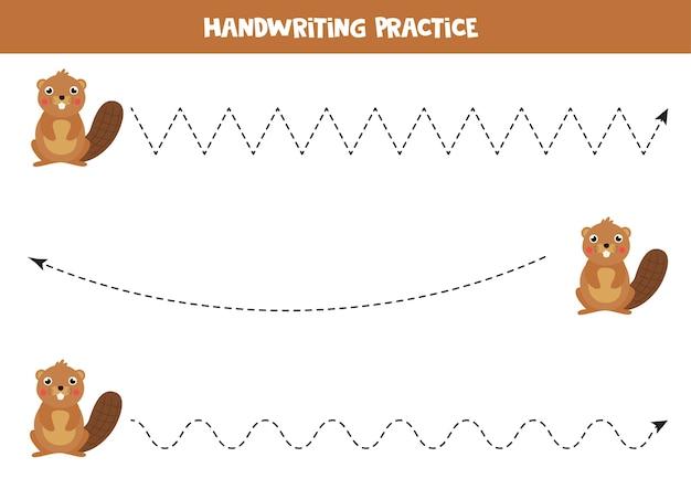 Prática de caligrafia com castor bonito dos desenhos animados. traçando linhas para crianças pré-escolares.