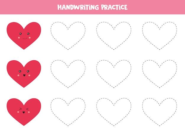 Prática de caligrafia com corações.