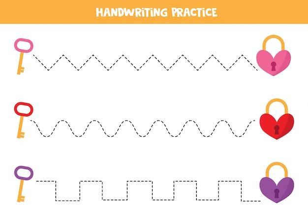 Prática de caligrafia com fechaduras e chaves de coração.
