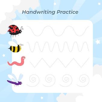 Prática de caligrafia com formas fofas de insetos
