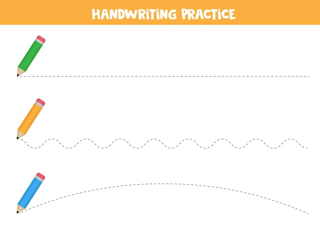 Prática de caligrafia com lápis. trace as linhas.