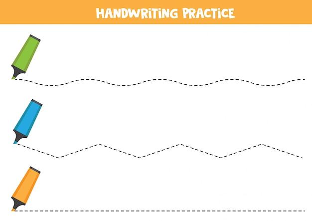 Prática de caligrafia com marcadores. traçando linhas.