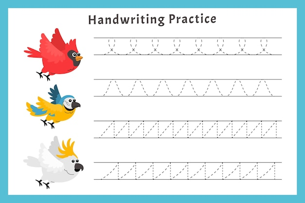 Prática de caligrafia com pássaros