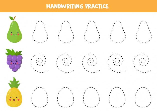 Prática de caligrafia com pêra kawaii fofa, uva e abacaxi