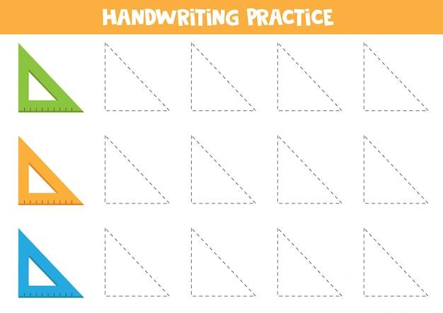 Prática de caligrafia com régua. trace triângulos.