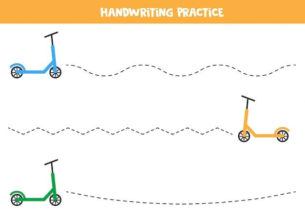 Prática de caligrafia com scooter de crianças.