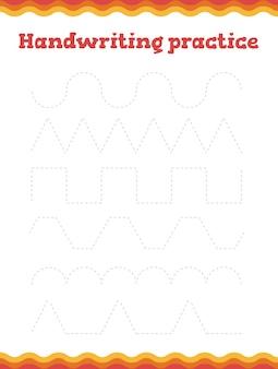 Prática de caligrafia. conte quantos itens e escreva o resultado! planilha de pré-escola ou jardim de infância.