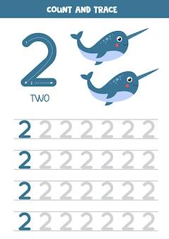 Prática de caligrafia para crianças. número dois. narvais dos desenhos animados.
