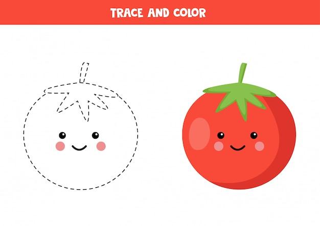Prática de caligrafia para crianças. trace o tomate vermelho e pinte-o.