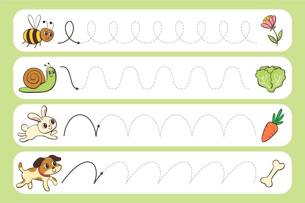 Prática de caligrafia para crianças Vetor grátis