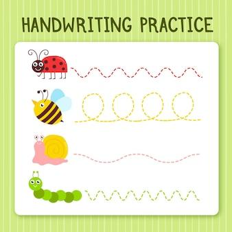Prática de caligrafia para crianças