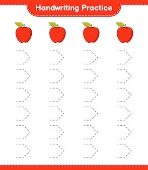 Prática de caligrafia. traçando linhas da apple. jogo educativo para crianças, planilha para impressão, ilustração vetorial