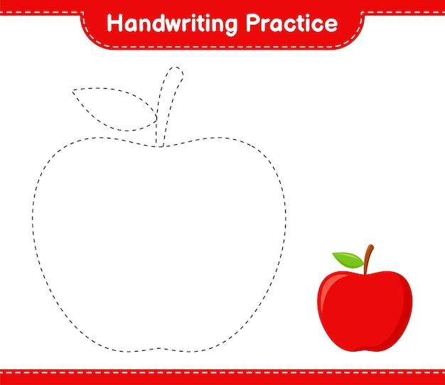 Prática de caligrafia. traçando linhas da apple. jogo educativo para crianças, planilha para impressão