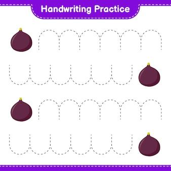 Prática de caligrafia. traçando linhas da fig. jogo educativo para crianças, planilha para impressão