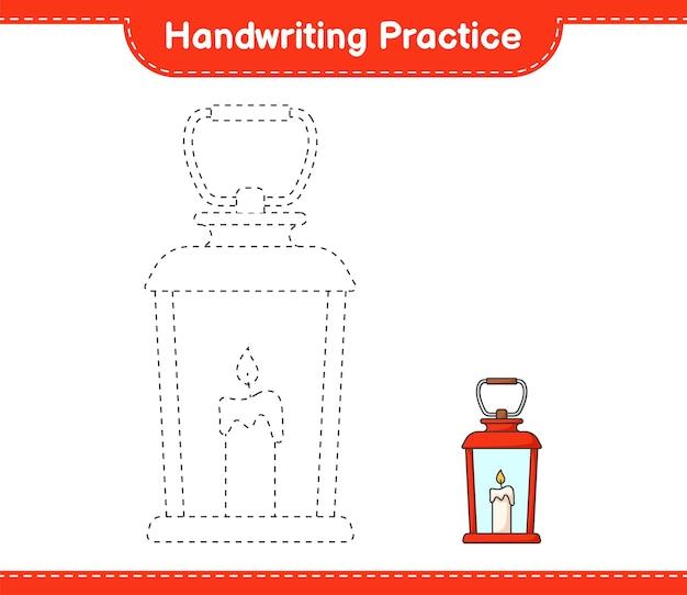 Prática de caligrafia traçando linhas da planilha para impressão do jogo educacional infantil lanterna
