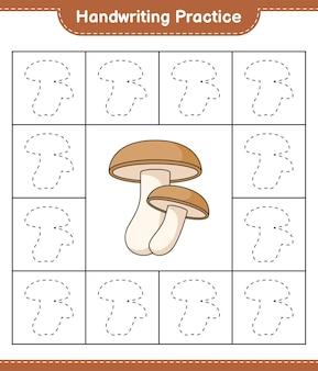 Prática de caligrafia traçando linhas da planilha para impressão do jogo educacional infantil shiitake