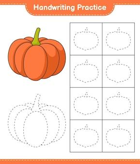 Prática de caligrafia traçando linhas da planilha para impressão do jogo infantil pumpkin educacional