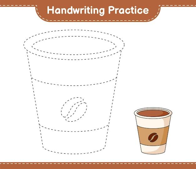 Prática de caligrafia traçando linhas da xícara de café folha de trabalho para impressão do jogo educativo para crianças
