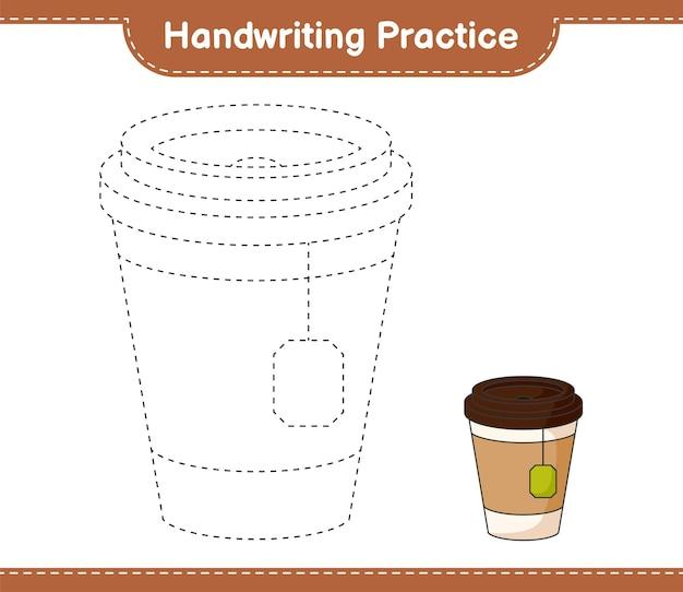 Prática de caligrafia traçando linhas da xícara de chá jogo educacional infantil para impressão