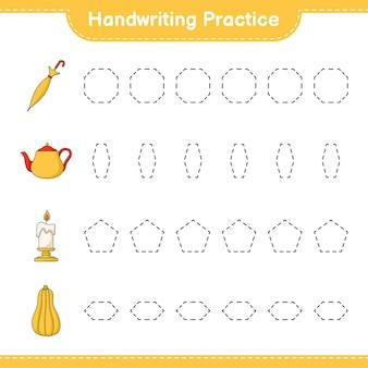 Prática de caligrafia traçando linhas de abóbora butternut e guarda-chuva de vela de bule
