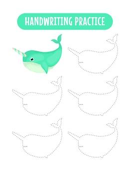 Prática de caligrafia traçando linhas de animais marinhos, jogo educativo de escrita para crianças