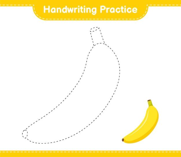 Prática de caligrafia. traçando linhas de banana. jogo educativo para crianças, planilha para impressão