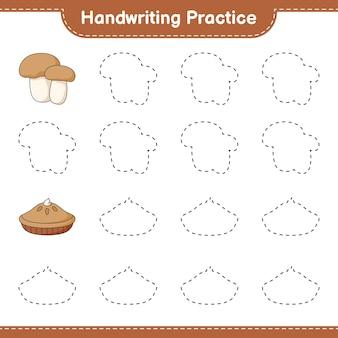 Prática de caligrafia traçando linhas de boleto de torta e cogumelo jogo educativo para crianças