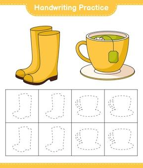 Prática de caligrafia traçando linhas de botas de borracha e chávena de chá jogo educativo infantil