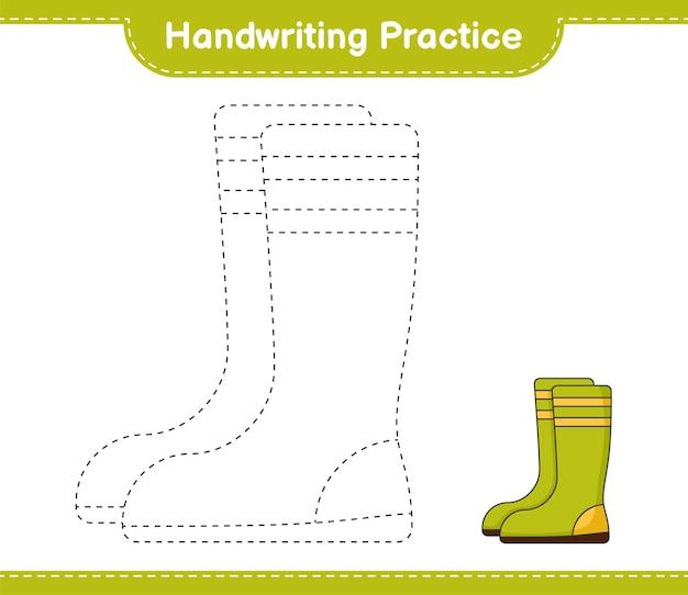 Prática de caligrafia traçando linhas de botas de borracha folha de trabalho para impressão do jogo educativo para crianças Vetor Premium