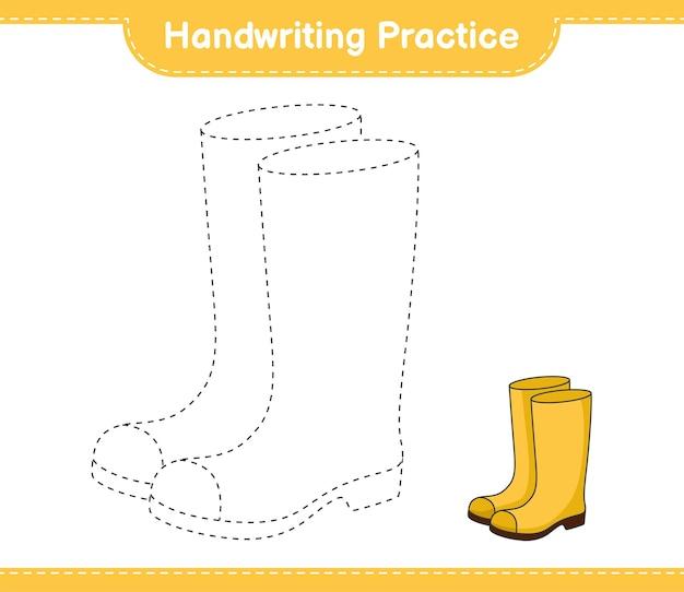 Prática de caligrafia traçando linhas de botas de borracha folha de trabalho para impressão do jogo educativo para crianças