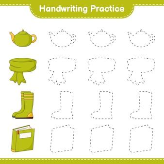 Prática de caligrafia traçando linhas de cachecol livro botas de borracha e bule