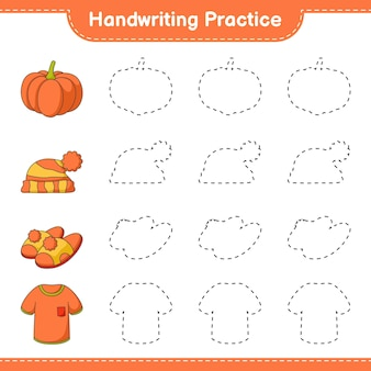 Prática de caligrafia traçando linhas de camisetas chinelos de abóbora e chapéu jogo educativo para crianças