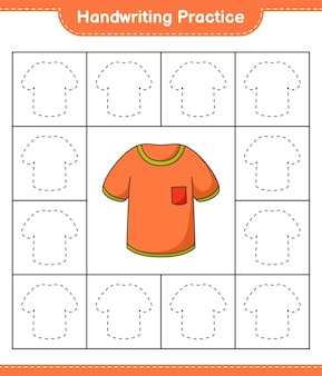 Prática de caligrafia traçando linhas de camisetas planilha para impressão do jogo educativo para crianças