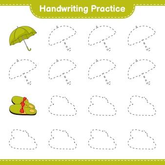 Prática de caligrafia traçando linhas de chinelos e guarda-chuva. jogo educativo para crianças
