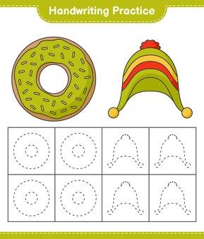 Prática de caligrafia traçando linhas de donut e chapéu planilha para impressão do jogo educativo para crianças