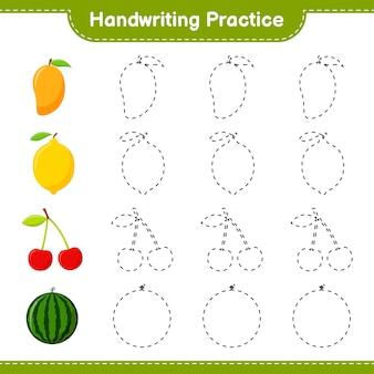 Prática de caligrafia. traçando linhas de frutas. jogo educativo para crianças, planilha para impressão, ilustração