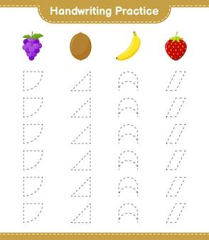 Prática de caligrafia. traçando linhas de frutas. jogo educativo para crianças, planilha para impressão