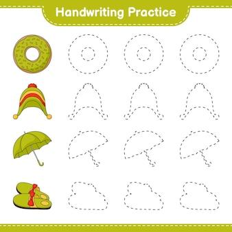 Prática de caligrafia traçando linhas de guarda-chuva e chapéu de chinelos de donut. jogo educativo para crianças