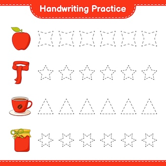 Prática de caligrafia traçando linhas de jam coffee cup apple e scarf jogo educativo para crianças
