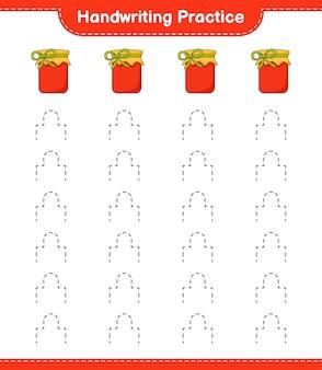 Prática de caligrafia. traçando linhas de jam. jogo educativo para crianças, planilha para impressão, ilustração vetorial