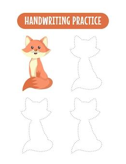 Prática de caligrafia traçando linhas de jogo educacional de raposa para crianças escrevendo