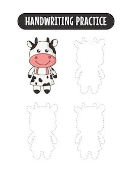 Prática de caligrafia traçando linhas de jogo educativo de vacas para crianças escrevendo