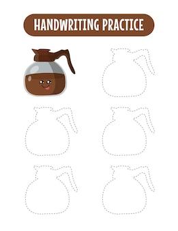Prática de caligrafia traçando linhas de jogos educativos de café para crianças escrevendo