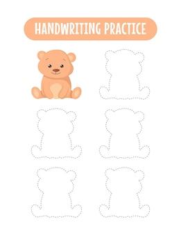 Prática de caligrafia traçando linhas de jogos educativos de escrita para crianças com ursos