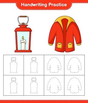Prática de caligrafia traçando linhas de lanterna e agasalhos jogo educativo infantil
