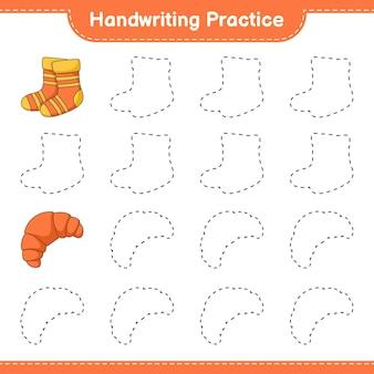 Prática de caligrafia traçando linhas de meias e croissant jogo educativo para crianças
