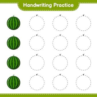 Prática de caligrafia. traçando linhas de melancia. jogo educativo para crianças, planilha para impressão, ilustração