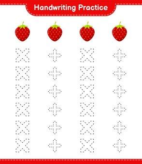 Prática de caligrafia. traçando linhas de morango. jogo educativo para crianças, planilha para impressão
