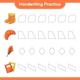 Prática de caligrafia traçando linhas de oak leaf socks book e croissant
