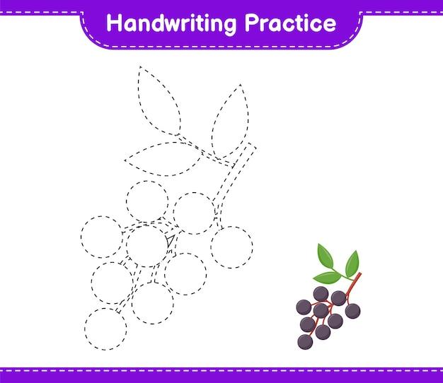 Prática de caligrafia. traçando linhas de sabugueiro. jogo educativo para crianças, planilha para impressão